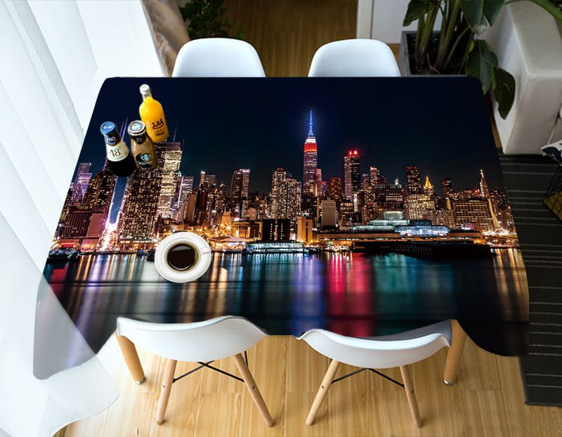 Beautiful night view of the city 3d Tablecloth Forest Guardian Unicorn Stereo Tablecloth Tapestry