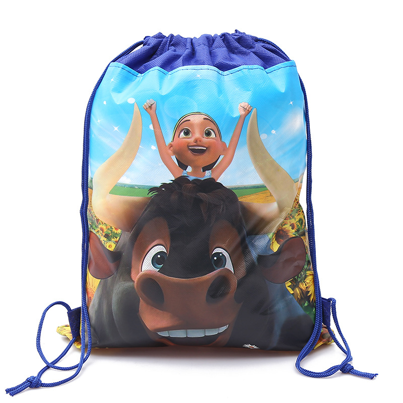 2018 Hot Movie 20pcs Ferdinand theme non woven fabrics drawstring backpack boy schoolbag shopping bag 34 27cm in Gift Bags Wrapping Supplies from Home Garden