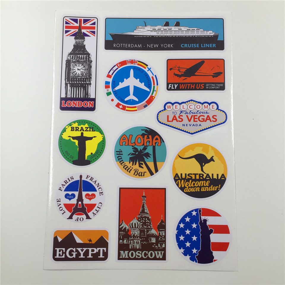 2018 Famous Scenic Spot Vintage Sticker On Luggage ...