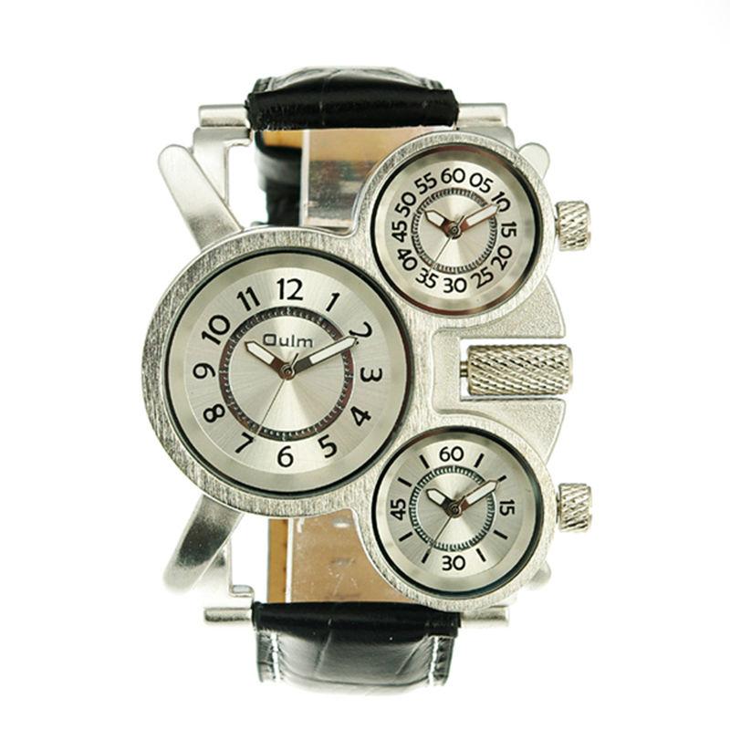 Prix pour Nouvelle mode oulm Marque cool 1167 bracelet en cuir hommes de haute qualité militaire armée 3 time zone sport en plein air poignet quartz Hommes montres