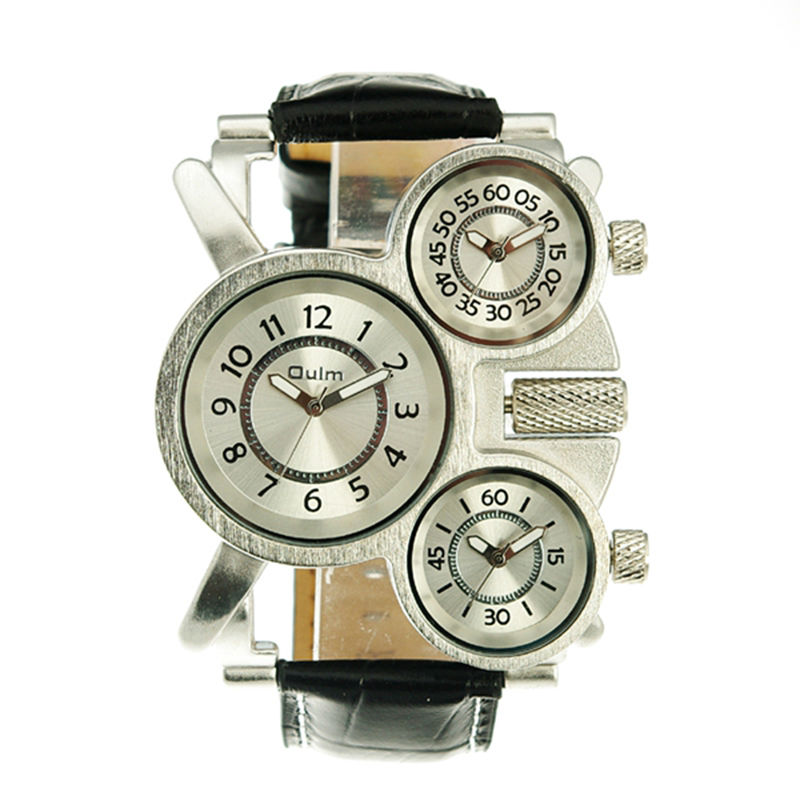 new fashion oulm Brand cool 1167 leather strap men high quality military army 3 time zone
