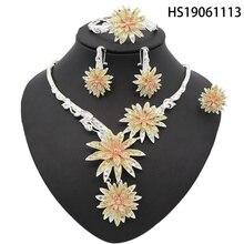 Yulaili Hot Selling Dubai Gold Jewelry Sets Classic Rhinestone Crystal Necklace Earrings Nigerian Wedding African Flower