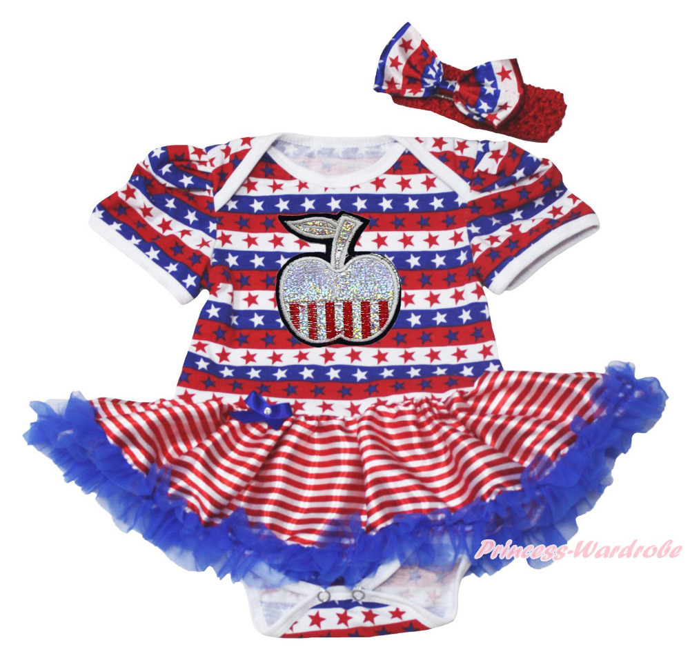 Bling Apple 4th July RWB Stripe Star Bodysuit Girls Baby Dress Outfit Set  NB-18M MAJSA0598