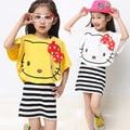 Hello kitty conjuntos de roupas meninas de verão criança roupas camisa + colete de duas peças de algodão dress boutique vetement fille