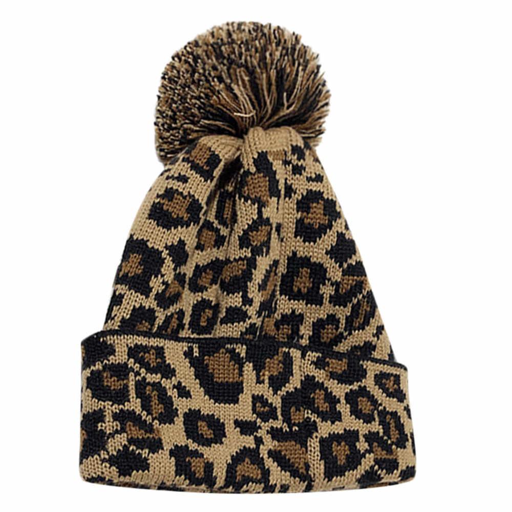 fbff9a75cba86 Leopard Crochet Hat For Women 2018 Female Winter Knitted Hat Fashion Beanie  Hairball Warm Cap For