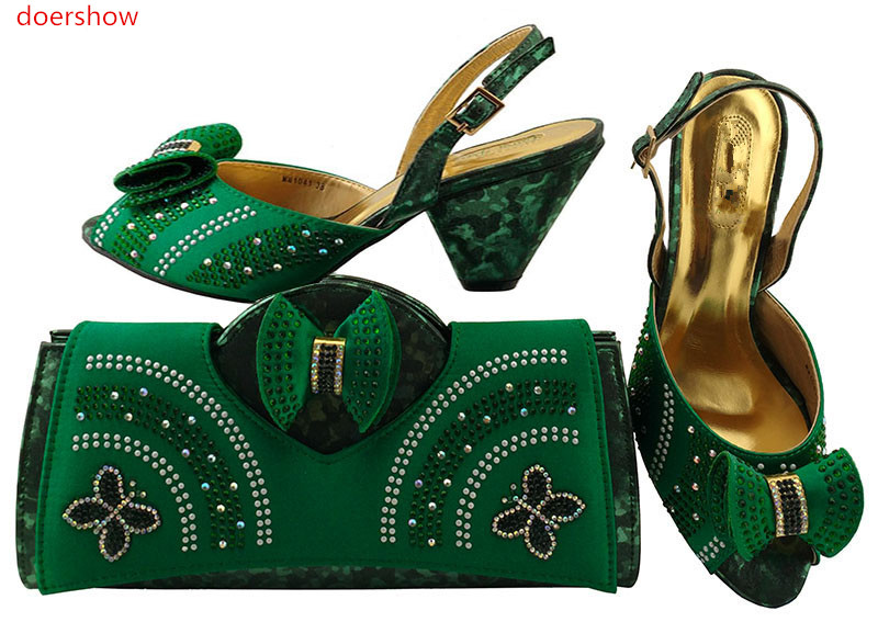 doershow Latest Style African Shoes And Bag Set New Italian High Heels Shoes And Matching Bag Set For Party Dress   LULU1-27 high quality african shoes and matching bag set summer style woman high heels shoes and bag set for party size 38 43 mm1030