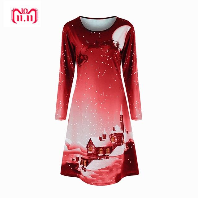 Print Christmas Dress Women Full Sleeve Winter Party Desses Short Mini  Straight Dress Robe Femme 2018 SJ1047F 2aa37ecde531