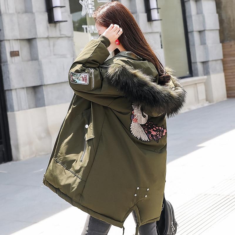 Casual Women Winter Coats New Cotton Long   Parka   Large Women Overcoat Fur Collar Winter Jacket Thick Warm Female Coat   Parka