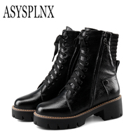 ASYSPLNX Brand 2017 Side Zipper Strap With A Thick Waterproof Boots Women Boots