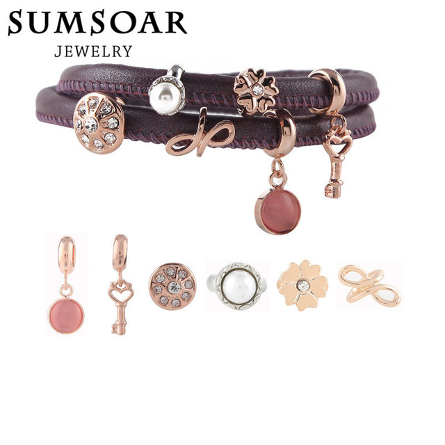High Quality Sheepkin Purple Genuine Leather Bracelet DIY Charm Bands Set with 6pcs Charms 40CM for Women Gift