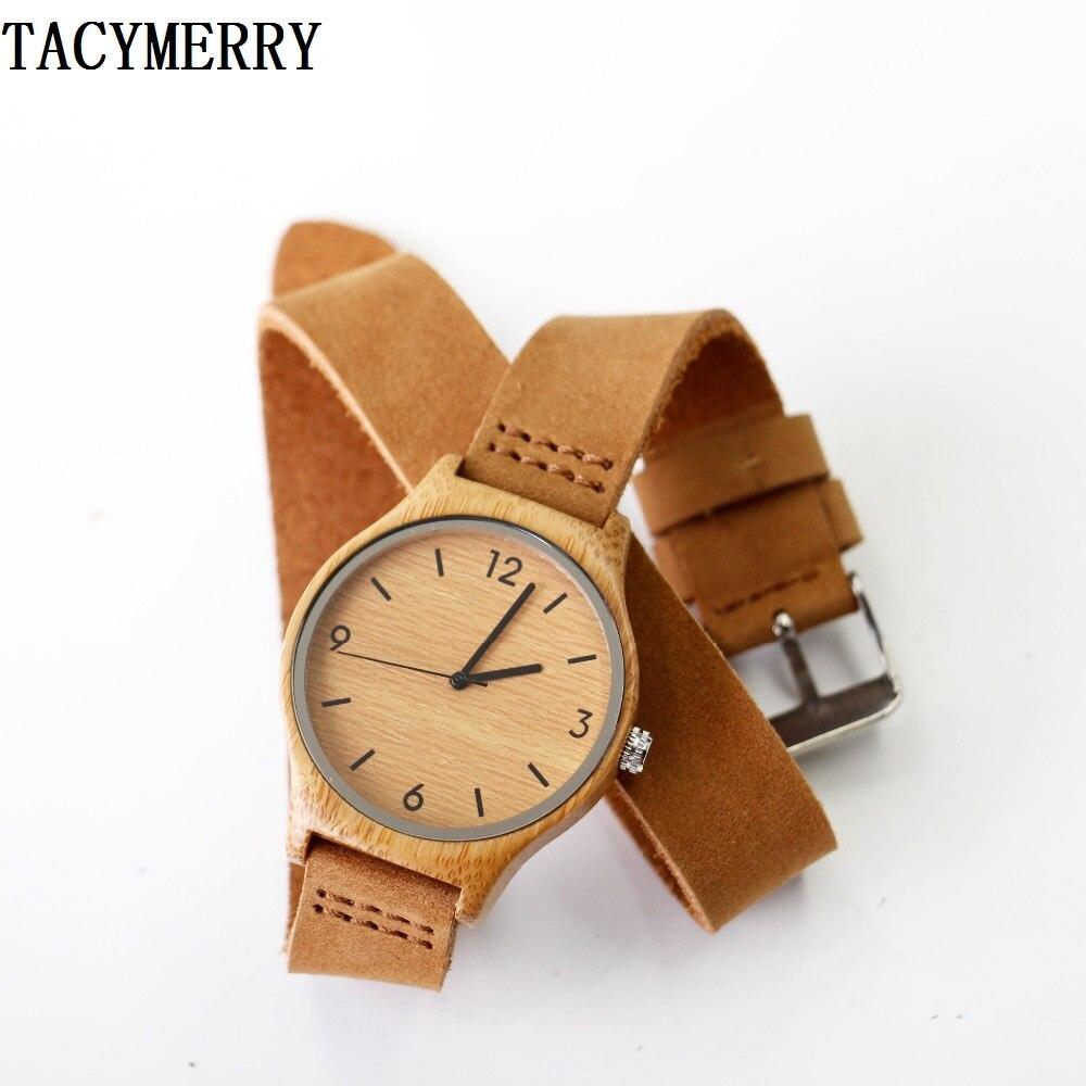 La más nueva manera mujeres madera de bambú de cuero genuino reloj mejores regalos para los amigos de la muchacha
