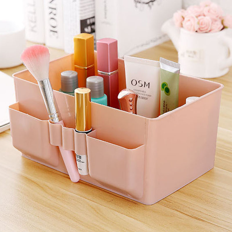 1 Pcs Colorful Makeup Organizer Multi grid Plastic Cosmetic Storage Box Office Desktop Debris Finishing Organizador Box-in Storage Boxes & Bins from Home & Garden