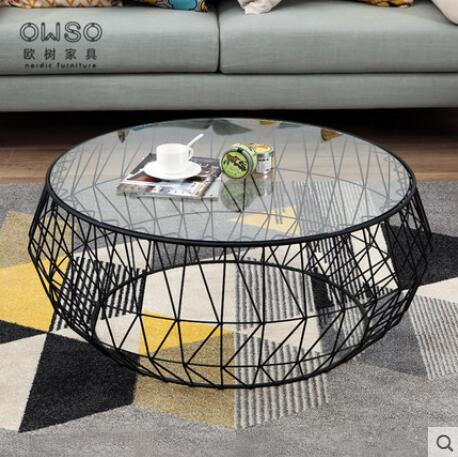 Nordic Modern Iron Tea Table Small Family Living Room Tea Table Tempered Glass Round Tea Table Creative Simplicity