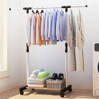 Stainless Steel Telescopic Drying Racks Balcony Single Rod Floor Drying Home Living Room Bedroom Hangers Coat