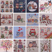 JaneYU Yarn-dyed jacquard cotton fabric owl pillow cushion sofa home garden table cloth