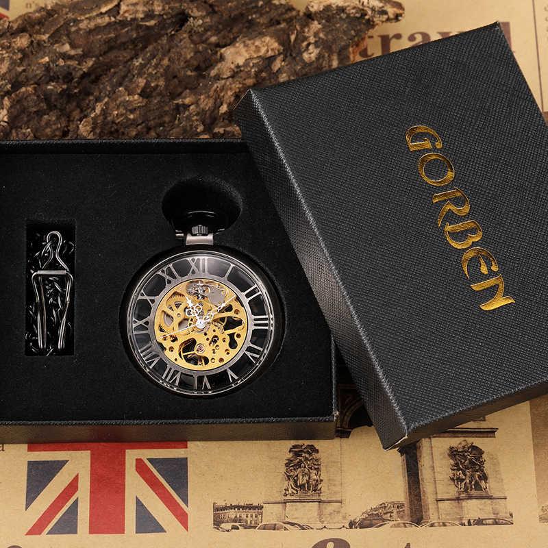 Montre de poche mécanique Unique en Bronze creux squelette Steampunk Craced pour hommes FOB chaîne de taille rétro cadran romain horloge masculine cadeau pour hommes