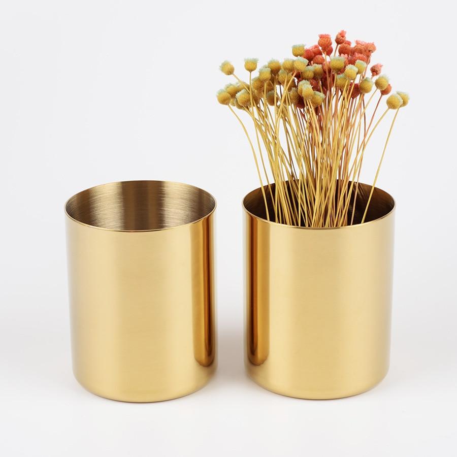Dokibook Brass Gold Round Pen Holder Metal Penholder Pencil Holder Office Decoration Desk Accessories School Stationery Supplies