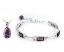 2016 Recién llegado de manera de la venta caliente gota de agua púrpura collares pendientes sistemas de la joyería de plata de ley 925 'al regalo