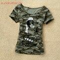 2016 Mujeres del verano de la Ropa de Camuflaje Militar Uniforme de Moda camiseta Impresa Nueva Manga Corta Camiseta Tops Para Las Mujeres SA239