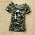 2016 Summer Women's Camouflage Clothing Military Uniform Fashion Printed T shirt New Short Sleeve T-Shirt Tops For Women SA239
