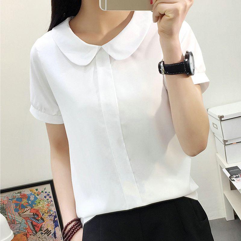 Women Summer White Blouse Sweet Chiffon Short Sleeve Female Tops Peter Pan Collar Female Blouse White Shirt