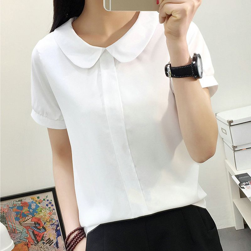 Women Summer White   Blouse   Sweet Chiffon Short Sleeve Female Tops Peter Pan Collar Female   Blouse   White   Shirt