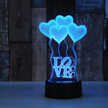 Valentine's day gift Heart Shape Colorful 3D Hologram Lamp USB Acrylic Lights party favor girlfriend gift present anniversary