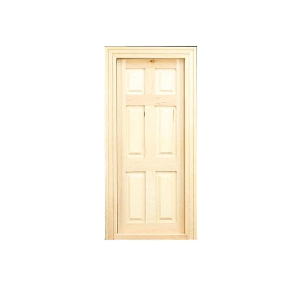 Nice 1 12 dollhouse miniature diy 6 panel interior wooden for 6 panel interior wood doors