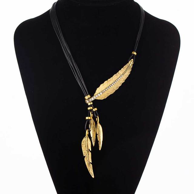 ee7ba0303b12f US $3.05 |Fashion Bohemian Style Black Rope Chain Feather Pattern Pendant  Necklace For Women Fine Jewelry Collares Statement Necklace-in Chain ...