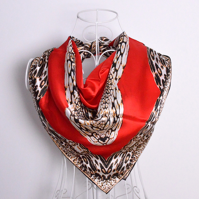 Square Silk Scarves 2015 Autumn Winter Mulberry Silk Women Scarf Shawl Printed Hot Sale Leopard Print Large Size Red Scarves