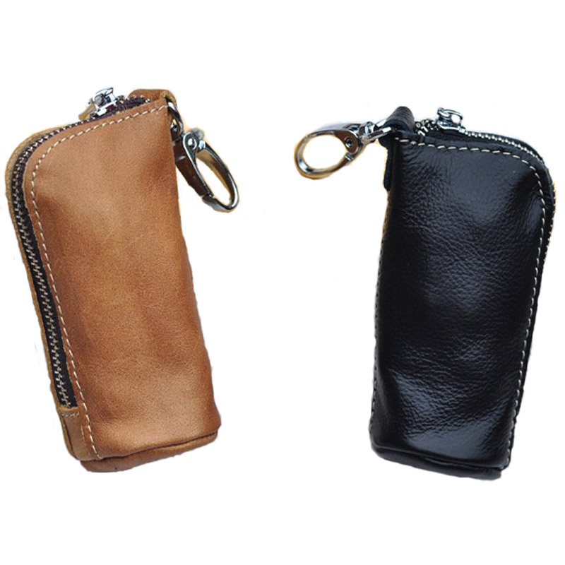 CICICUFF Men Key Bag Genuine Cow Leather Buckets Key Cases Pouch Zipper Keychain Auto Car Key Case Bag Women Home Key Holder