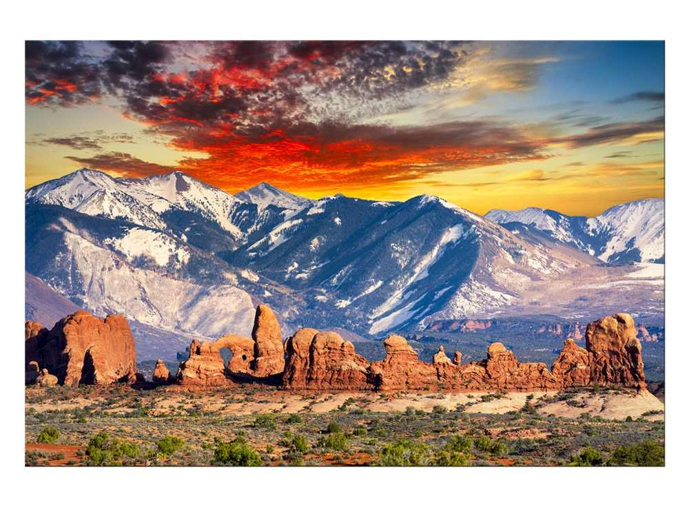 1 panel Kostenloser Versand Snow Mountain Landschaft Leinwanddruck Sonnenuntergang Malerei Für Wohnzimmer Wandkunst Home Decoration Eingerahmt