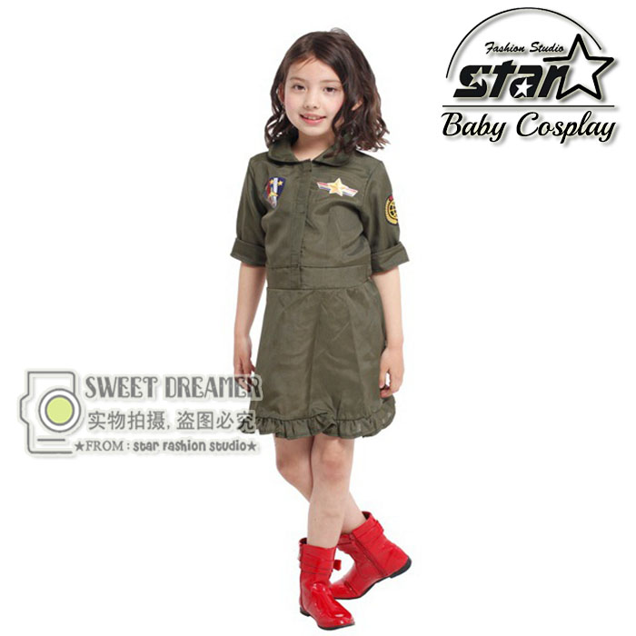 Carnival Children Kid Cool Girls Pilot Military Air Force Captain Green Cosplay Costume Halloween Role-Play Clothes Fancy Dress колье selena selena mp002xw13tta