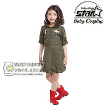 Carnival Children Kid Cool Girls Pilot Military Air Force Captain Green Cosplay Costume Halloween Role Play