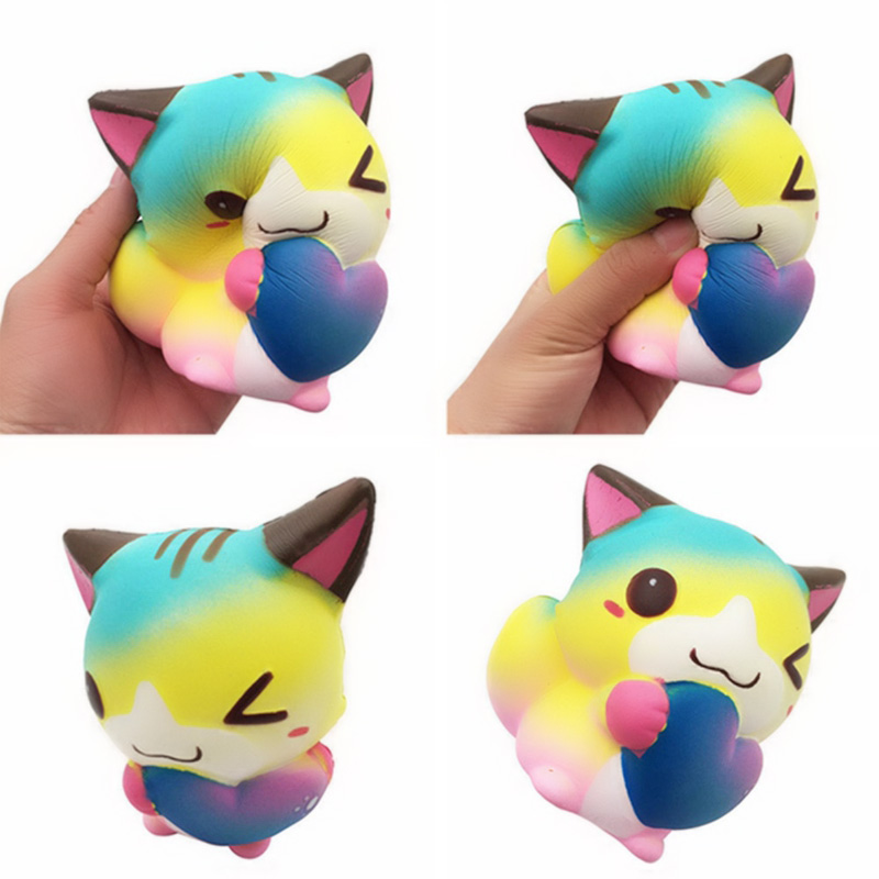 12cm Cute Cartoon Heart Cat Fox Slow Rising Cream Scented Squeeze Toy Straps Scented Bread Cake Fun Kid Toy Gift
