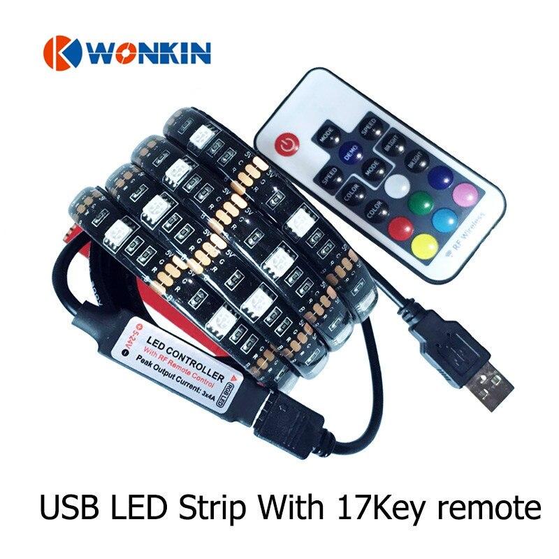 5050 LED sloksnes gaisma Elastīga USB 1M 2M DC5V TV fona apgaismojums RGB LED sloksne IP20 IP65 ūdensnecaurlaidīga apdare