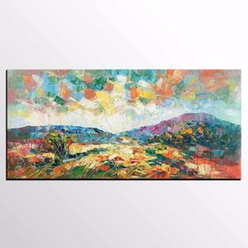 Handmade thick knife high quality Modern Abstract Fine Artwork Canvas Decor Autumn mountains Oil Painting for Living Room