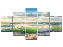 5 Pieces Free shipping Sunset Beach Waves print painting on canvas Wall Art Picture Home Decoration Framed J009-036 free shipping 10pcs 5340 036 ami