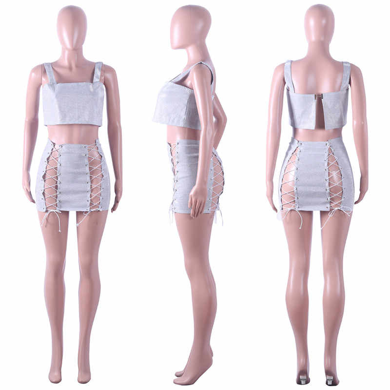 644f5a830f66 ... Sexy Sparkly Women's Sets Sequined Two Piece Skirt Set Strapless Crop  Top and Bandage Mini Skirt ...