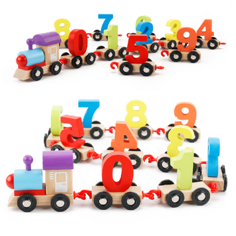 (11 Pcs) Children Toddlers Digital Small Wooden Train 0-9 Number Figures Railway Model Wood Kids Educational Toys Gift (1 Set)