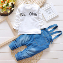 New Hot Spring Baby boys girls Clothing Set Children Denim overalls jeans pants + tshirt Full Sleeve Twinset Kids Clothes Set