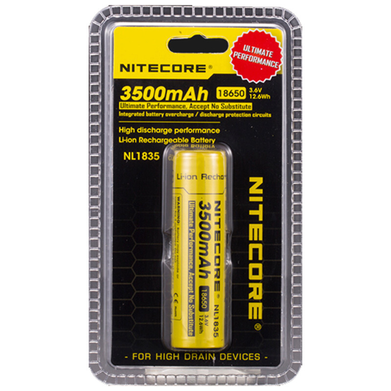 1 Pcs Nitecore 18650 3500 mAh NL1835 3 6 V 9 6Wh Li on rechargeable protected li ion button top in Portable Lighting Accessories from Lights Lighting