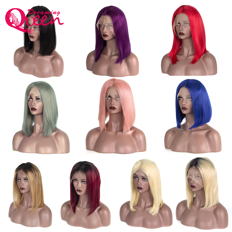 180 Density Ombre Human Hair Bob Wig Lace Front Wigs with Baby Hair 1B Blonde Red