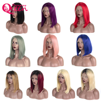 180% Density Ombre Human Hair Bob Wig Lace Front Wigs with Baby Hair 1B Blonde Red Pink Brazilian Remy Hair for Women