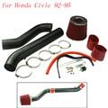 Воздуха труба комплект гоночный автомобиль для Honda Civic 92 - 95 холодного воздуха черный и хром с 2.75 дюймов красный воздушный фильтр