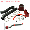 Tubo de admissão de ar kit Car Racing para Honda Civic 92 - 95 entrada de ar frio Black & Chrome com 2.75 polegada red filtro de ar