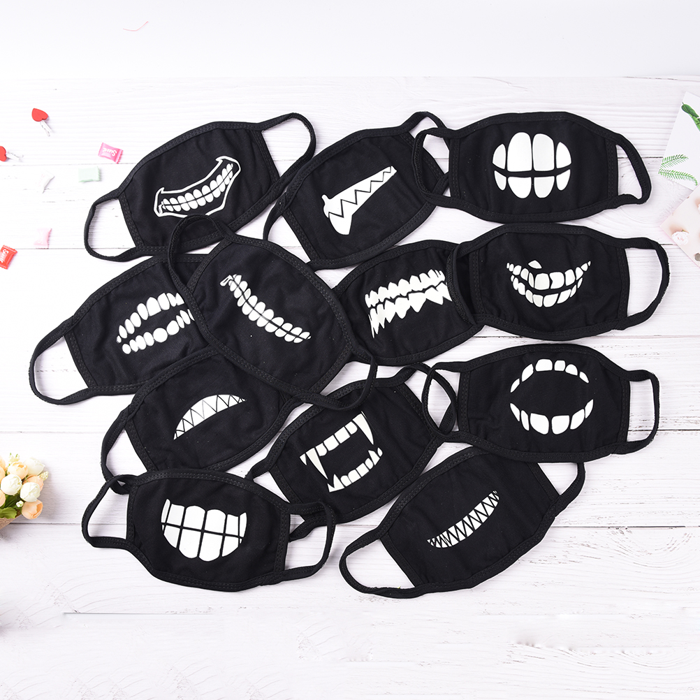 1pc Black Cool Unisex Masks Noctilucent Cotton Face Mask Mouth Mask Light In The Dark Anti Dust Keep Warm