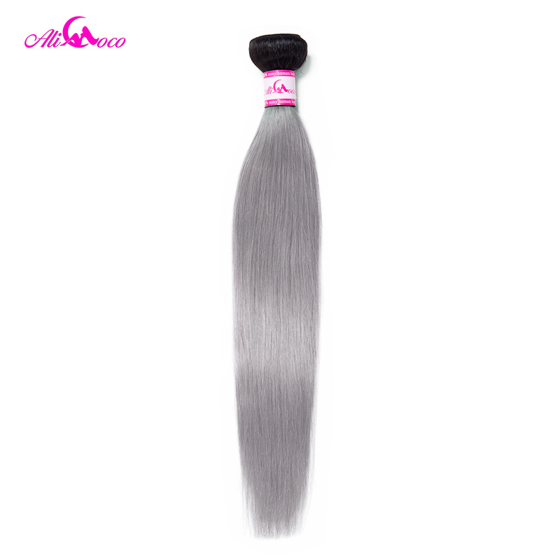 Ali Coco Brazilian Straight <font><b>Hair</b></font> Weave Bundles 1B/Grey Ombre Bundles 3/4 Bundles And Deal 100% Human <font><b>Hair</b></font> Extension Remy <font><b>Hair</b></font> image