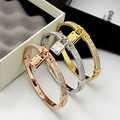 3 colors high quality Stainless steel brand M bracelet Bangle with full CZ diamond lock H bracelet for women wholesale