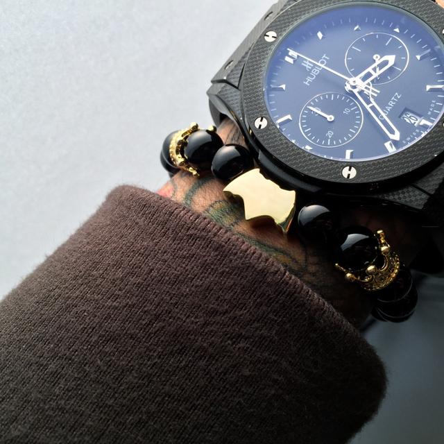 Batman Agate and Copper Bracelet